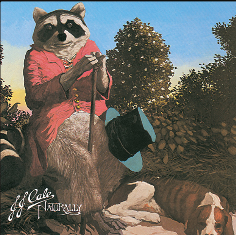 """album cover of the album """"Naturally"""" which features a raccoon in a red shirt with a cane, a top hat by its side, a hound dog sleeping at its feet, sitting in a small clearing in some trees on a nice day"""
